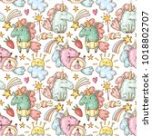 seamless pattern with unicorns | Shutterstock .eps vector #1018802707