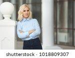 pretty stylish woman in...   Shutterstock . vector #1018809307