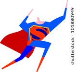 Superman flies through the air - stock vector
