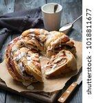 braided babka brioche wreath... | Shutterstock . vector #1018811677