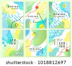 unique artistic spring cards... | Shutterstock .eps vector #1018812697