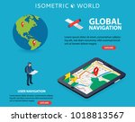global navigation. flat 3d... | Shutterstock .eps vector #1018813567
