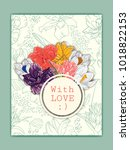 floral card template. hand... | Shutterstock .eps vector #1018822153