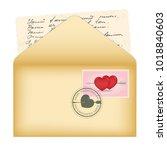 vector open envelope. card with ... | Shutterstock .eps vector #1018840603