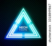 blue neon light triangle.... | Shutterstock .eps vector #1018849867