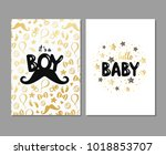 vector set of baby shower cards.... | Shutterstock .eps vector #1018853707