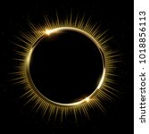 golden sparkling ring with rays ... | Shutterstock .eps vector #1018856113