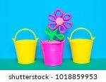 colorful plasticine flower in a ...   Shutterstock . vector #1018859953