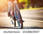 child on a bicycle at asphalt... | Shutterstock . vector #1018865047