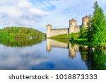 view of the olavinlinna castle  ... | Shutterstock . vector #1018873333