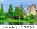 view of the olavinlinna castle  ... | Shutterstock . vector #1018873363