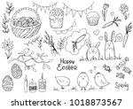 set of doodle easter elemetns... | Shutterstock .eps vector #1018873567