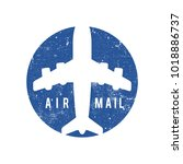air mail stamp | Shutterstock .eps vector #1018886737