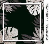silver tropical leaves on the... | Shutterstock .eps vector #1018892983
