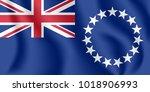 flag of cook islands. realistic ... | Shutterstock .eps vector #1018906993