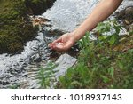 woman hand with water from a... | Shutterstock . vector #1018937143