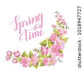 springtime card with purple...   Shutterstock .eps vector #1018947727