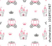 seamless princess pattern with... | Shutterstock .eps vector #1018951987
