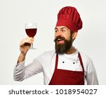 chef holding a glass of wine... | Shutterstock . vector #1018954027