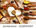 wood spoons with paprika ... | Shutterstock . vector #1018955407