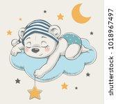 cute dreaming baby bear cartoon ... | Shutterstock .eps vector #1018967497