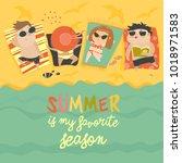 children on the sunny beach | Shutterstock .eps vector #1018971583