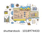 finger pointing at computer... | Shutterstock .eps vector #1018974433