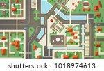 top  aerial or bird's eye view... | Shutterstock .eps vector #1018974613