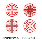 classic chinese circle window... | Shutterstock .eps vector #1018978117