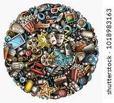 cartoon vector doodles cinema... | Shutterstock .eps vector #1018983163
