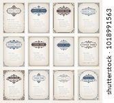 set of vintage frames with... | Shutterstock .eps vector #1018991563