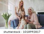 little cute girl  her...   Shutterstock . vector #1018992817