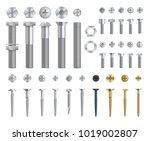 set of steel screws  bolts ... | Shutterstock .eps vector #1019002807