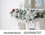 christmas decor on a white... | Shutterstock . vector #1019006707