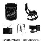 denture  rocking chair  walker  ... | Shutterstock .eps vector #1019007043