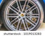 a porsche car wheel and tire ...   Shutterstock . vector #1019013283