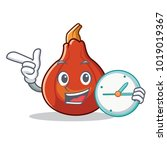 with clock red kuri squash... | Shutterstock .eps vector #1019019367