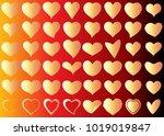 gold heart vector set icon... | Shutterstock .eps vector #1019019847