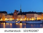 Night view of the Gamla Stan - stock photo