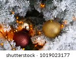 christmas tree decoration on... | Shutterstock . vector #1019023177