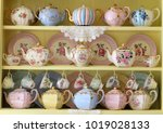vintage yellow kitchen dresser... | Shutterstock . vector #1019028133