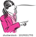 business woman showing vector... | Shutterstock .eps vector #1019031793
