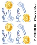 funny rabbit watches as dollar... | Shutterstock .eps vector #1019035327
