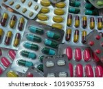 close up medicine  pill in pack ... | Shutterstock . vector #1019035753