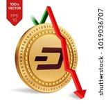 dash. fall. red arrow down.... | Shutterstock .eps vector #1019036707