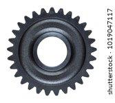 a heavy steel gear isolated on...   Shutterstock . vector #1019047117