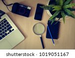 top view of a laptop with a... | Shutterstock . vector #1019051167