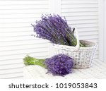 basket with a lavender over... | Shutterstock . vector #1019053843
