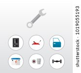 icon flat auto set of wrench ... | Shutterstock . vector #1019055193