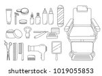 barber shop equipments set ... | Shutterstock .eps vector #1019055853